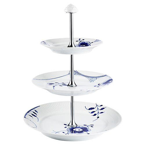 Fluted Mega 3-Tier Tray, Blue/White