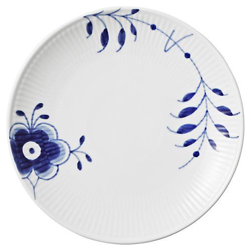 Fluted Mega Bread Plate, Blue/White