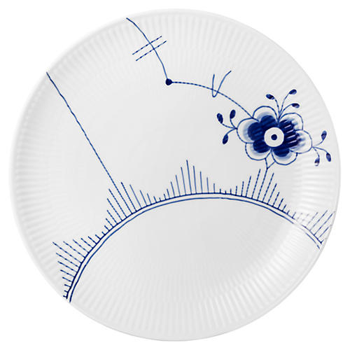 Fluted Mega Dinner Plate, Blue/White