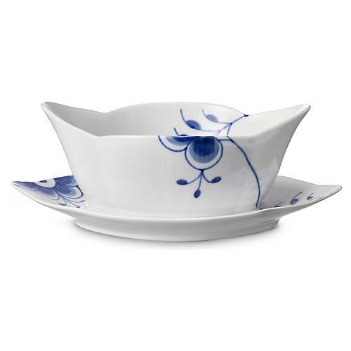 Fluted Mega Gravy Boat Set, Blue/White