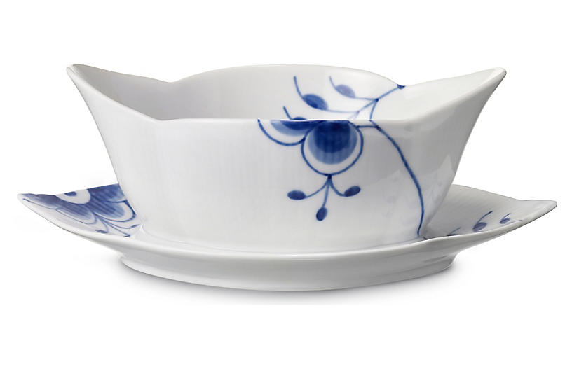 Fluted Mega Gravy Boat Set, Blue/White