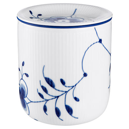 Fluted Mega Medium Storage Jar, Blue/White