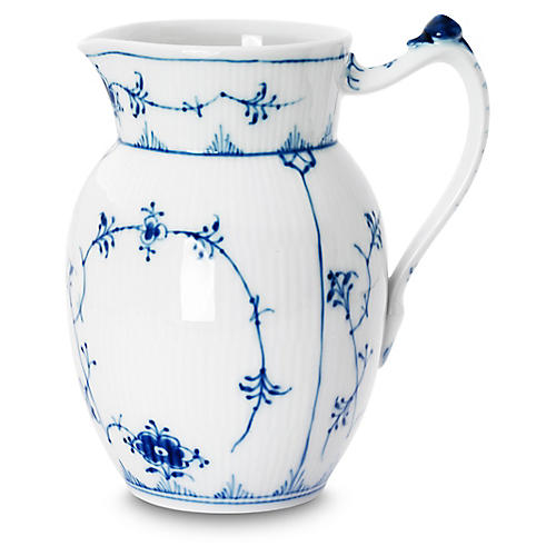 Fluted Plain Pitcher, Blue/White