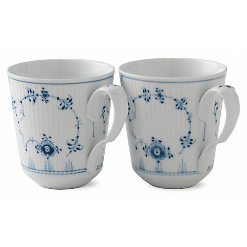S/2 Fluted Plain Coffee Mugs, Blue/White