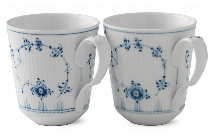S/2 Fluted Plain Coffee Mugs, Blue/White