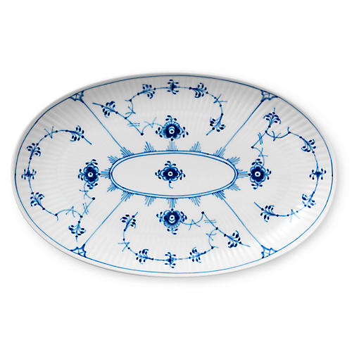 Fluted Plain Oval Serving Dish, Blue/White
