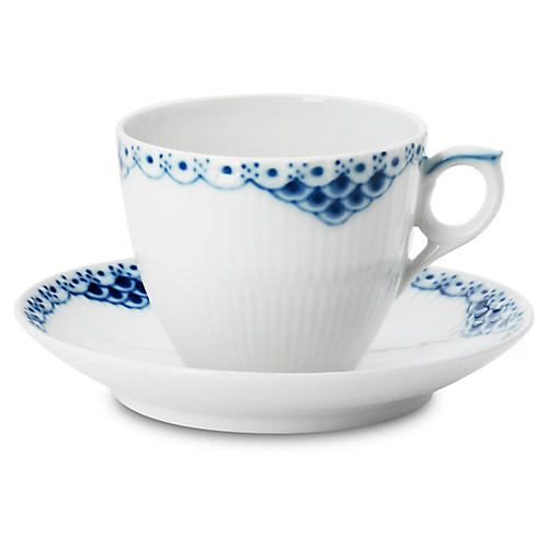 Princess Coffee Cup & Saucer Set, White/Blue