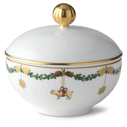Star Fluted Sugar Bowl, White/Multi