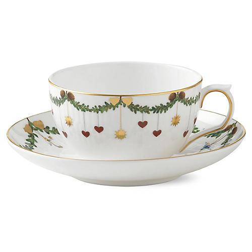 Star Fluted Teacup & Saucer Set, White/Multi