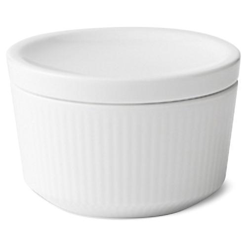 Fluted Lidded Serving Bowl, White