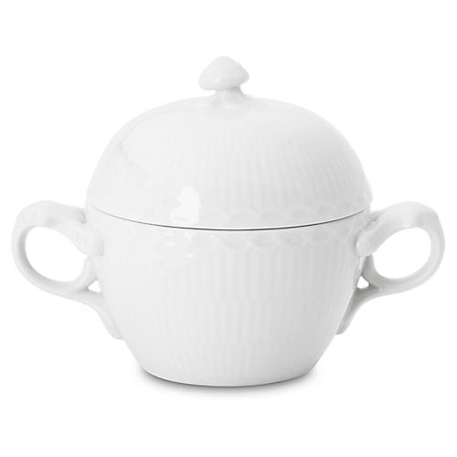 Fluted Half-Lace Sugar Bowl, White