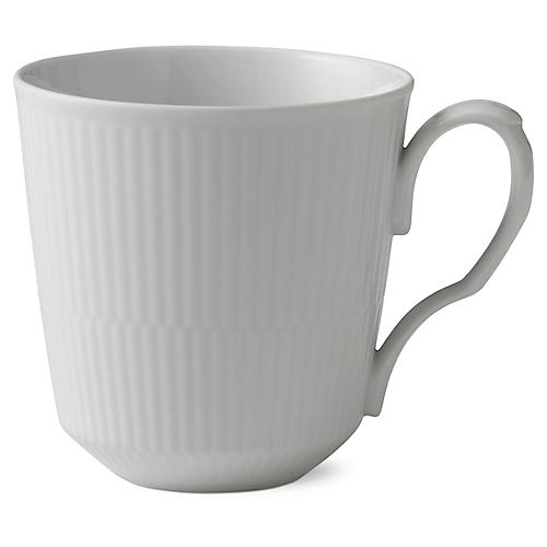 Fluted Coffee Mug, White