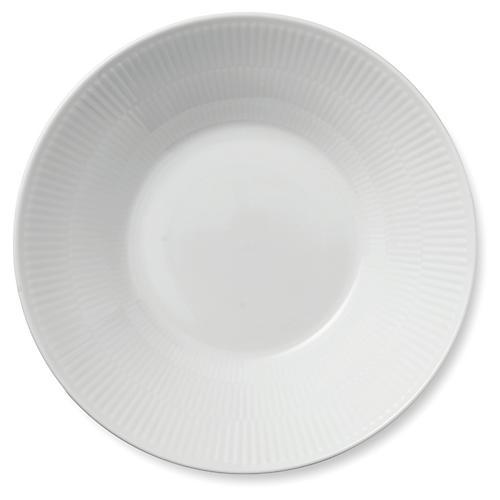 Fluted Pasta Bowl, White