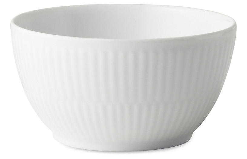 Fluted Sugar Bowl, White