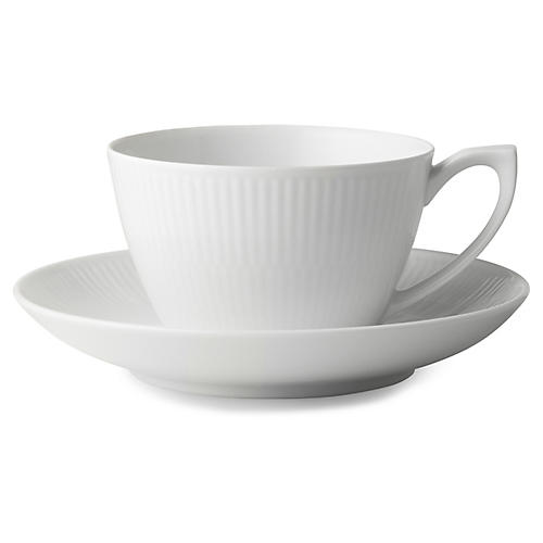 Fluted Teacup & Saucer Set, White