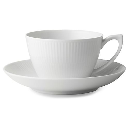 Fluted Teacup & Saucer Set, White