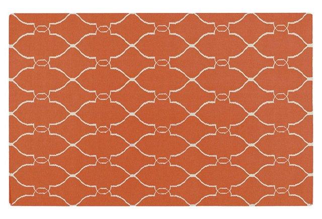 Pippa Flat-Weave Rug, Pumpkin/Cream