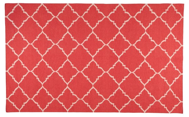Athena Flat-Weave Rug, Red