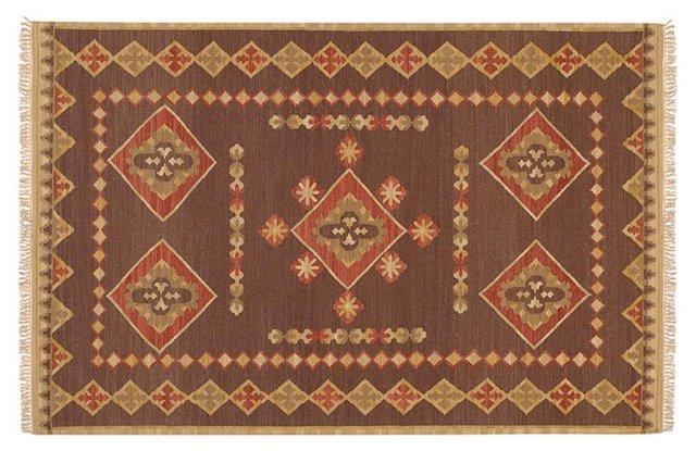 Tribal Flat-Weave Rug, Brown