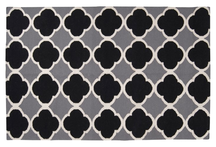 8'x11' Atlas Flat-Weave Rug, Gray/Black