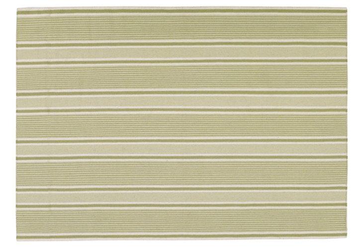 5'x8' Farmhouse Flat-Weave Rug, Green