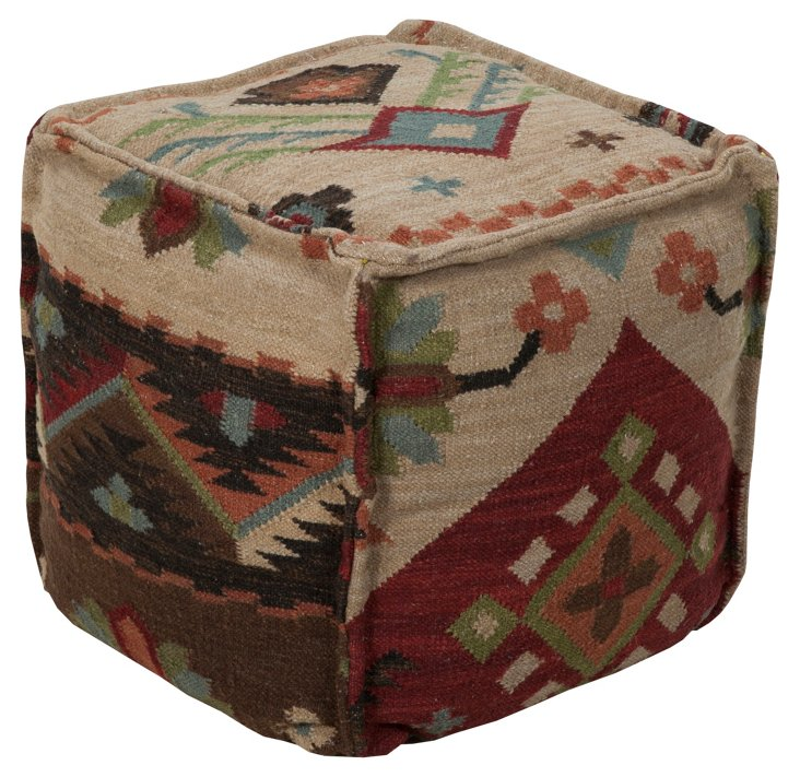 Tribal Pouf, Tan/Multi