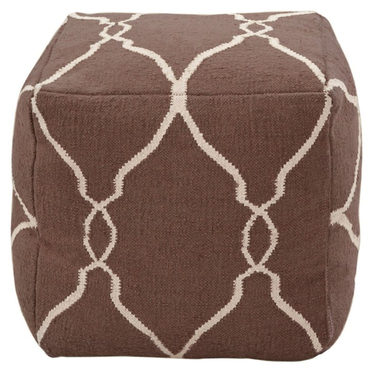 Arbor Wool Pouf, Chocolate