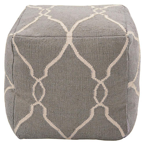 Arbor Pouf, Gray Wool