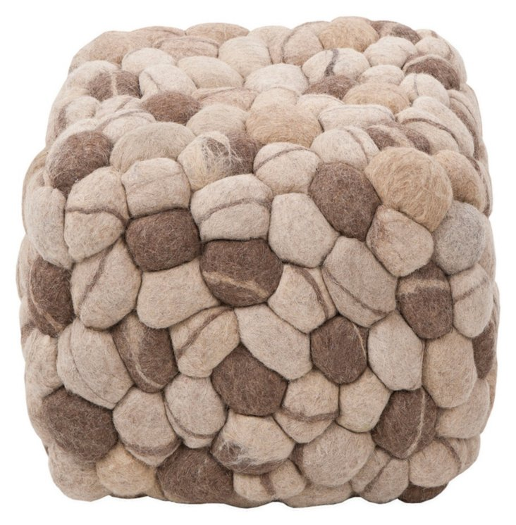 Fable Wool Pouf, Sand/Multi