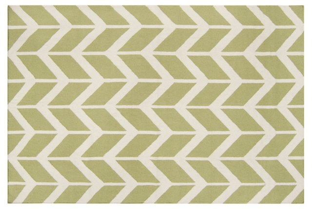Haven Flat-Weave Rug, Moss/Ivory