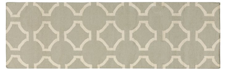 "2'6""x8' Thea Flat-Weave Runner, Bay Leaf"