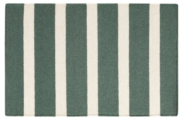 2'x3' Gaia Flat-Weave Rug, Green/Cream