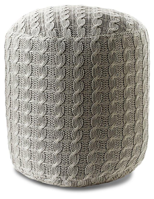 Madison Knit Pouf, Light Gray