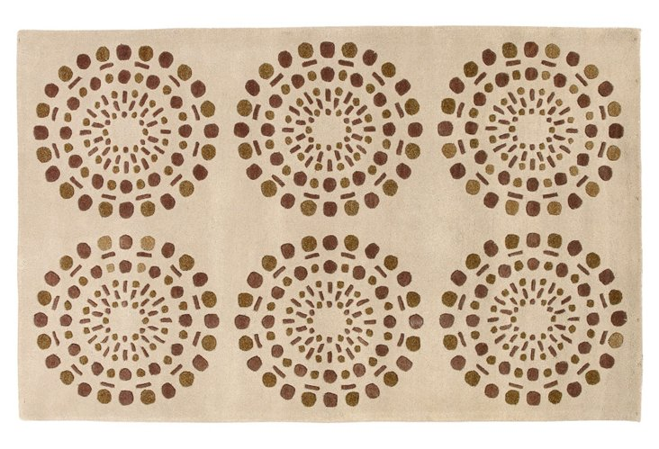 2'x3' Bombay Rug, Cream/Brown