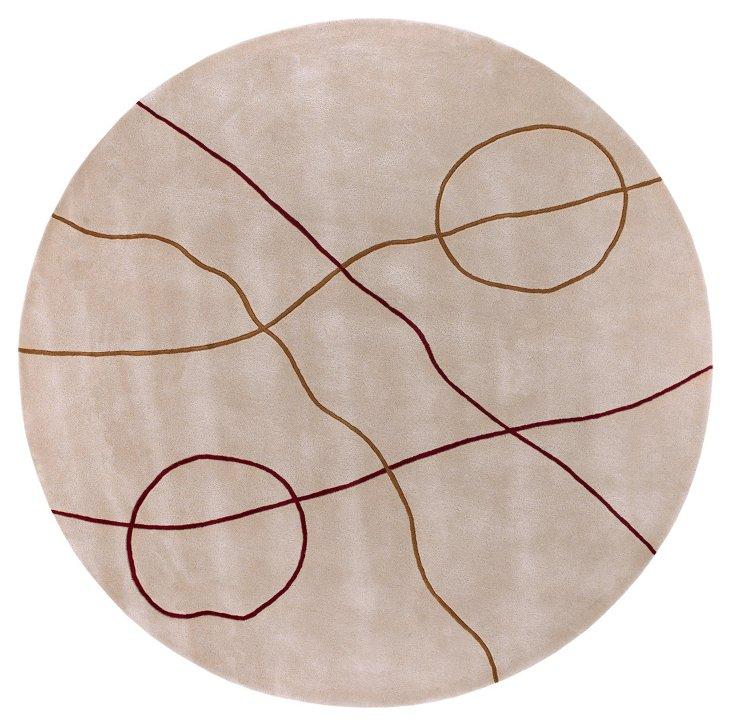 8' Round Jade Rug, Beige/Bronze