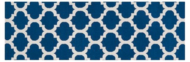"2'6""x8' Laurel Flat-Weave Runner, Blue"