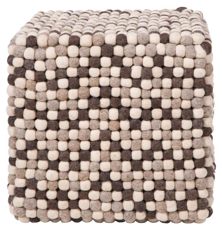 Bubble Wool Pouf, Espresso/Ivory