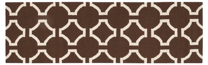 "2'6""x8' Theia Flat-Weave Runner, Brown"