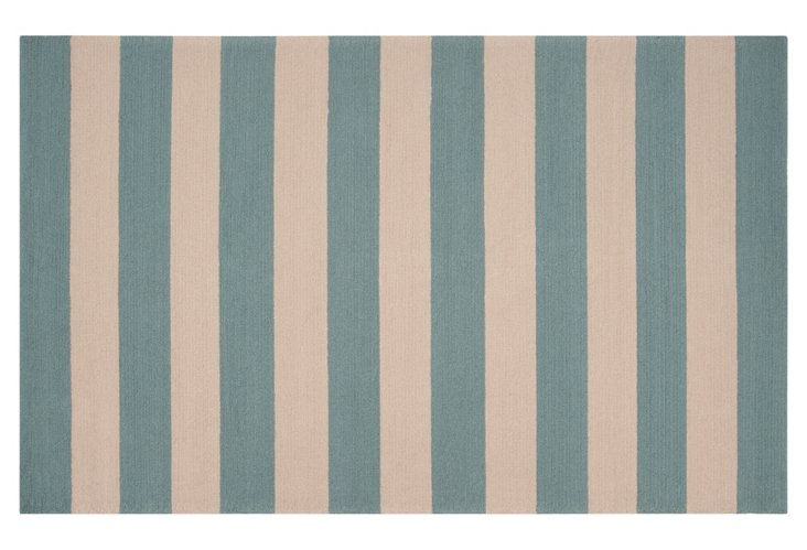2' x 3' Zoe Outdoor Rug, Parchment/Teal