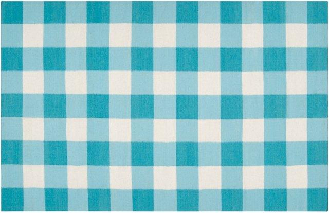 Talyn Flat-Weave Rug, Aqua