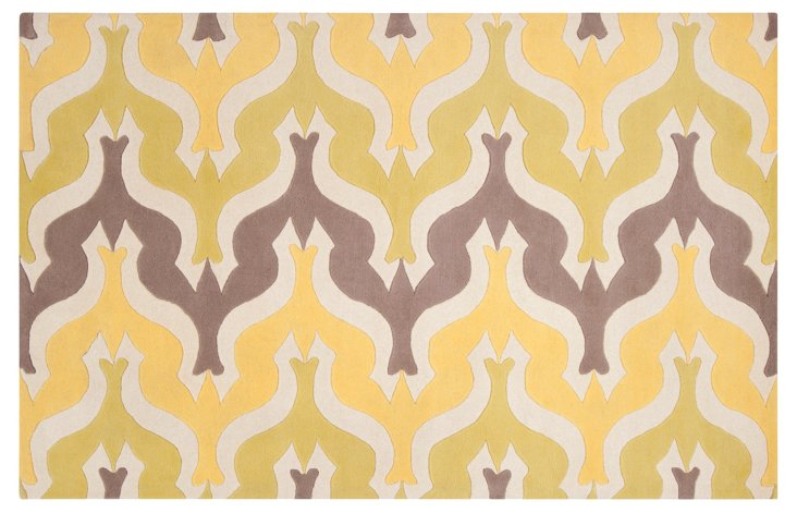 2'x3' Currents Rug, Yellow/Gray/Ivory