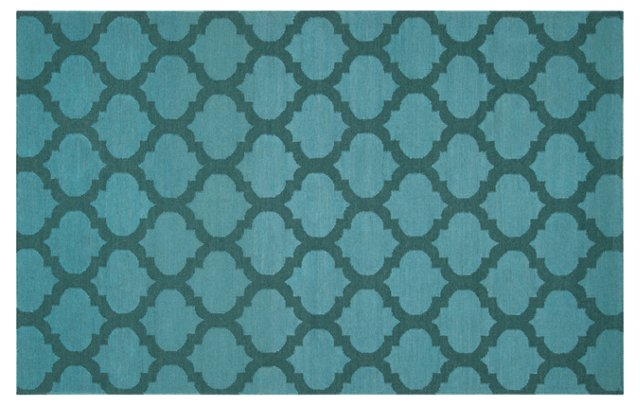 "2'6""x8' Laurel Flat-Weave Runner, Blue"