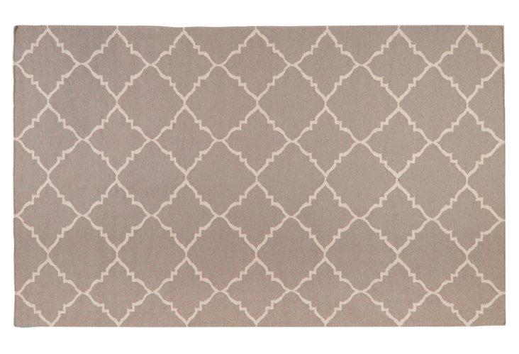 5'x8' Athena Flat-Weave Rug, Taupe