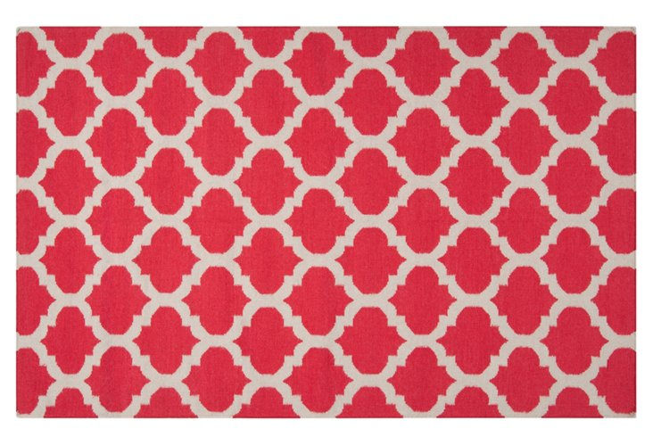 Laurel Flat-Weave Rug, Red