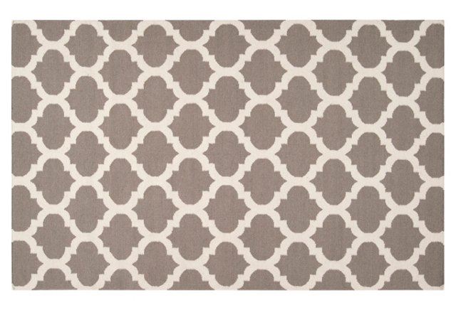 Laurel Flat-Weave Rug, Taupe/White