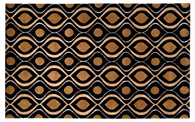 5'x8' Helios Rug, Black/Gold