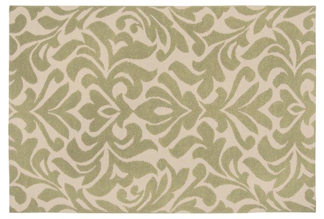 Nete Flat-Weave Rug, Moss/Ecru