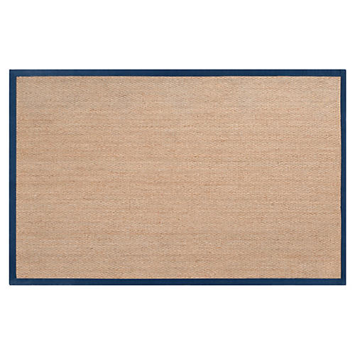 Village Sea-Grass Rug, Tan/Navy