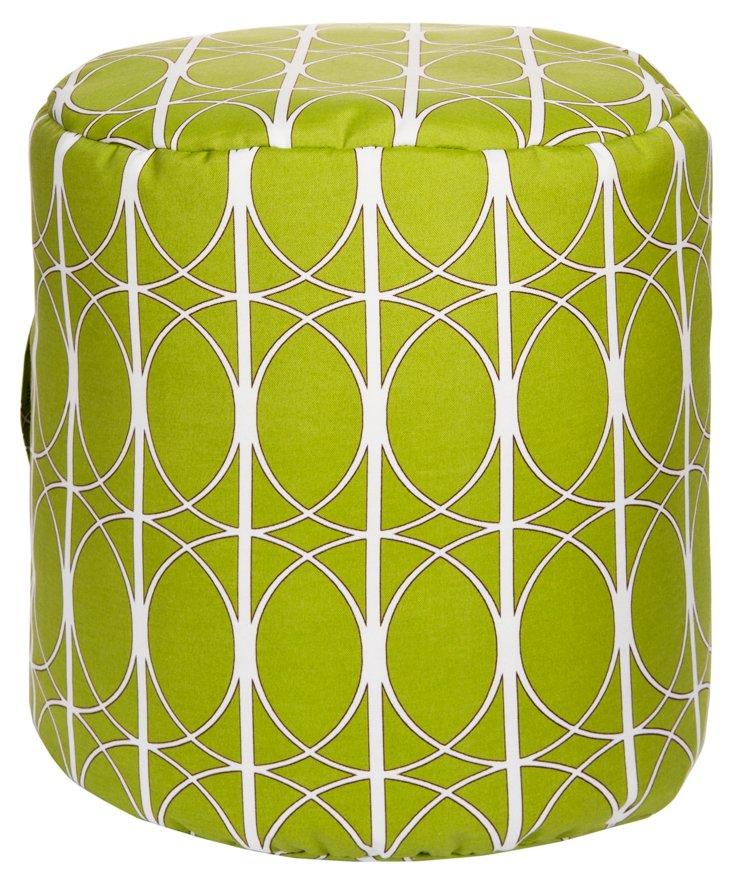 Circular Outdoor Pouf, Green/Ivory