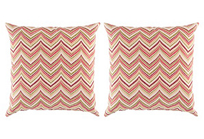 Chevron 18x18 Pillow S/2, Red